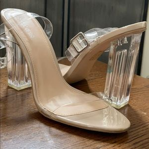 Clear strap lucite heels * very good condition *